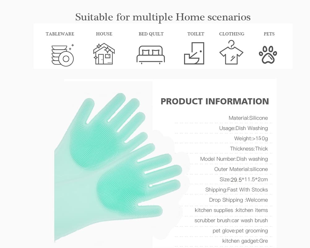Silicone Reusable Dish Scrubbing Gloves 16