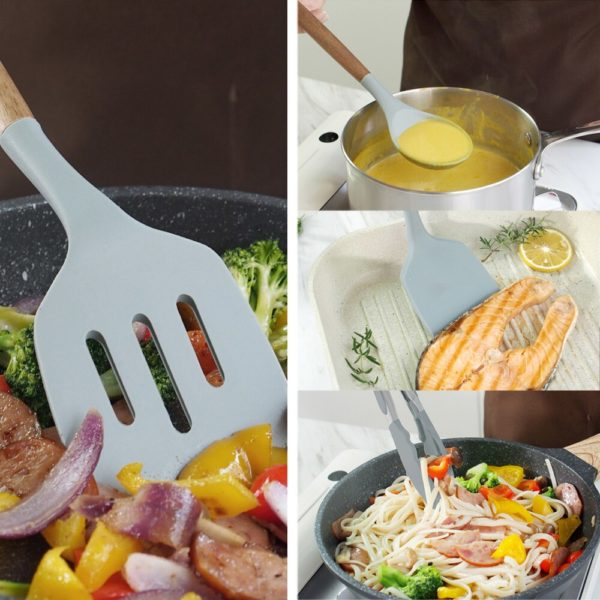 Wooden Silicone Cooking Utensils Set 4