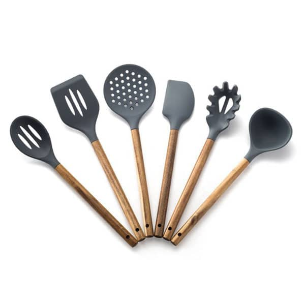 Silicone Cooking Utensil Set of 6,  Nonstick Cooking Spatulas, Spoon, Strainer, Slotted Spoon, Pasta Fork, Best Kitchen Gadgets 6