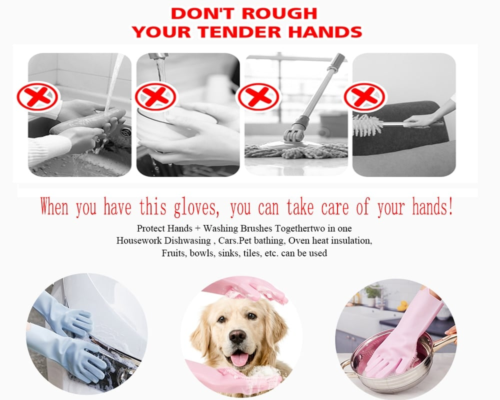 Silicone Reusable Dish Scrubbing Gloves 17