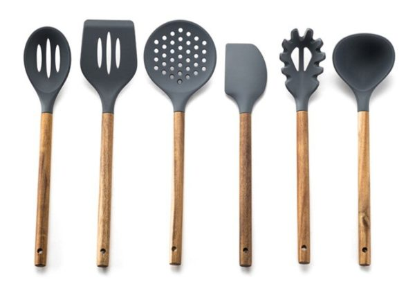 Silicone Cooking Utensil Set of 6,  Nonstick Cooking Spatulas, Spoon, Strainer, Slotted Spoon, Pasta Fork, Best Kitchen Gadgets 13